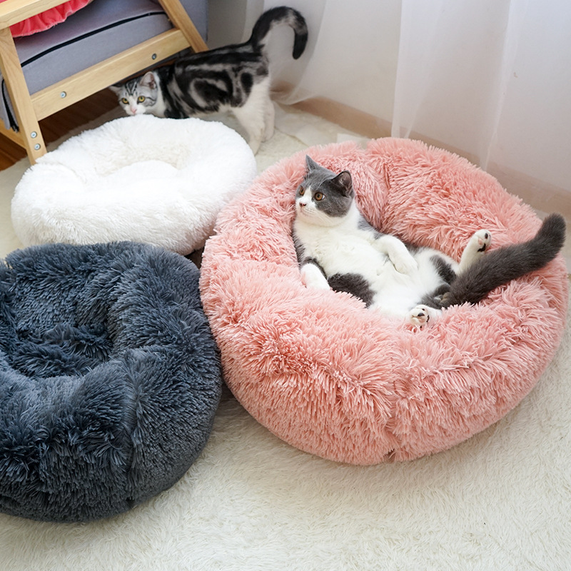 Small, Red Midress Stripe Pet Beds Little Pet Mats Washable Plush Kennel for Small Dogs Cats Pet Deep Sleep Comfortable Cat Beds Round Donut Mats