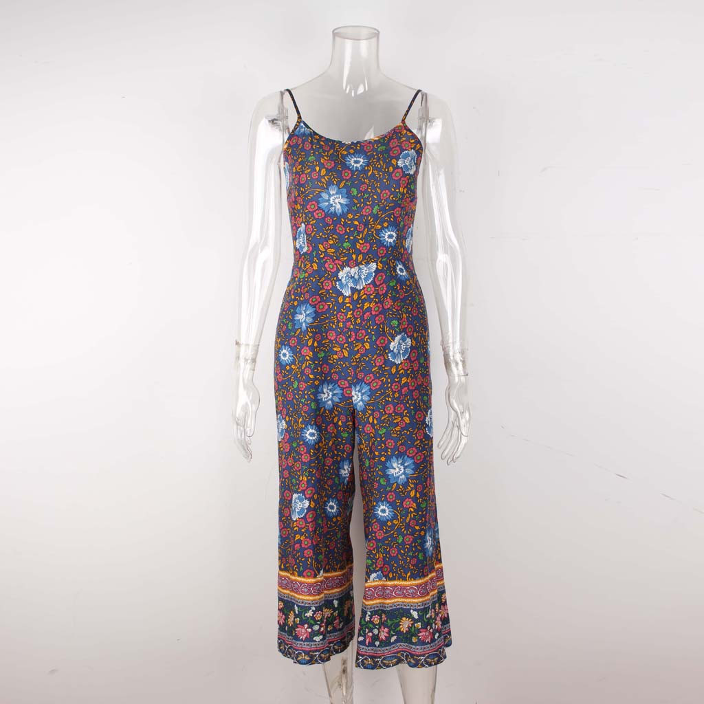 wholesale Womens Sling Sexy Flower Print Jumpsuit Womens Sleeveless Wide Leg Pants Long Jumpsuit Backless Strappy Playsuit Ja25