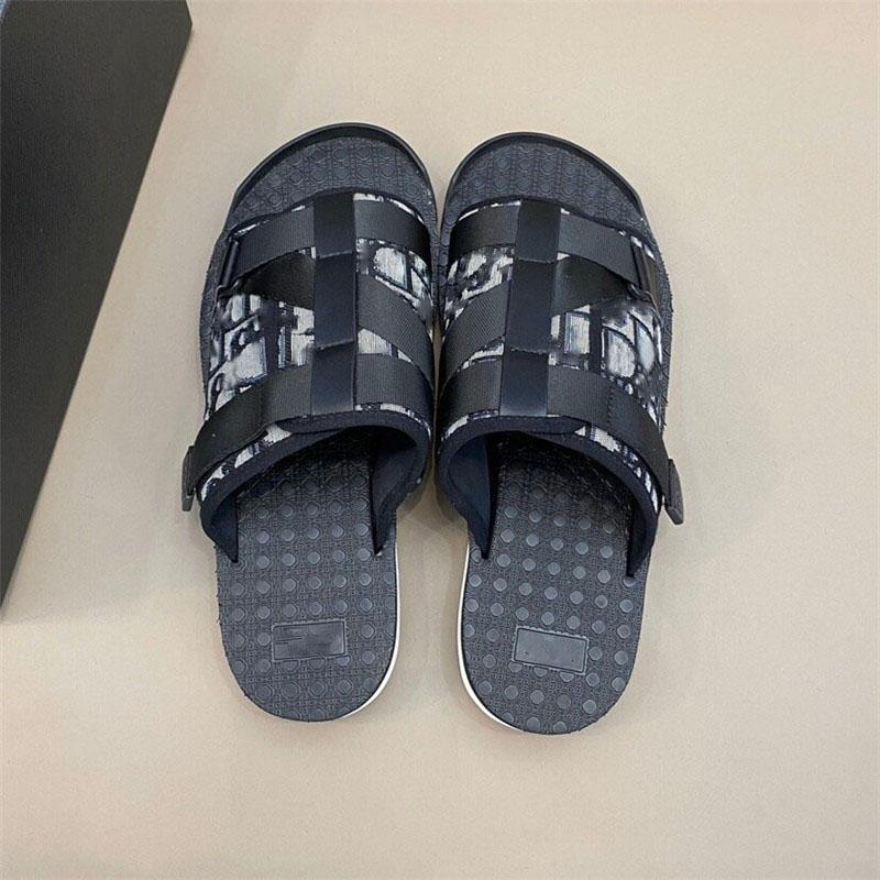 New Men BLACK ALPHA SANDAL IN OBLIQUE JACQUARD summer Men slippers nylon bands comfortable rubber sole scuffs with box size 38-45