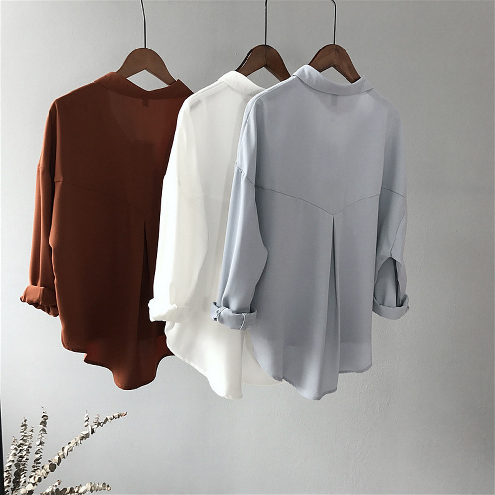 High quality Casual Chiffon white Women blouse shirt oversized Three Quarter sleeve loose shirt office wear casua tops blusas (4)