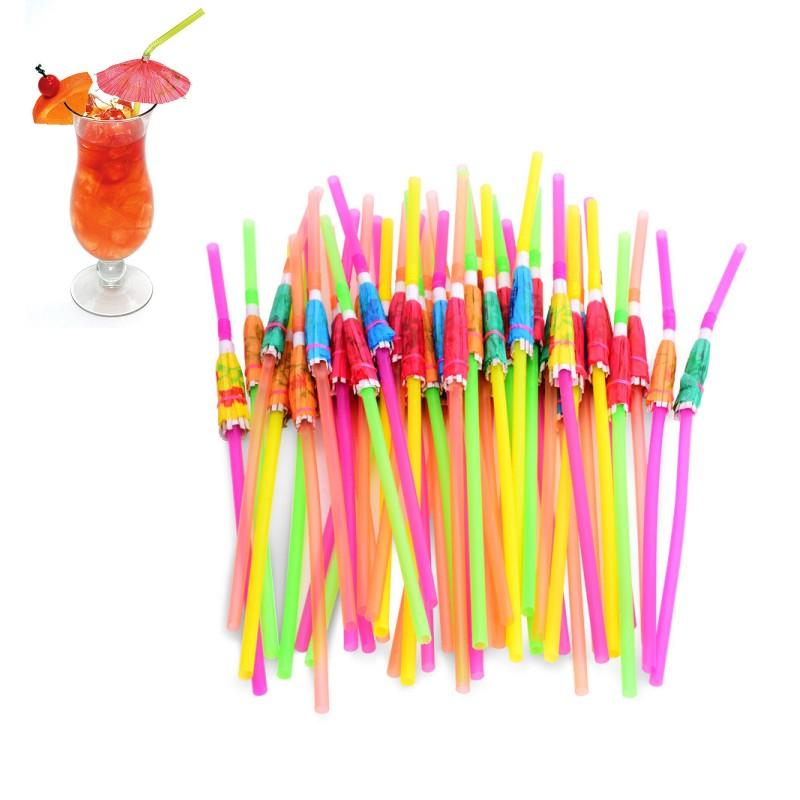100 Stück Schirm Eis Cocktail Getränke Deko für Hawaii Party Geburtstag Deko