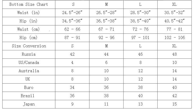 bottom size chart