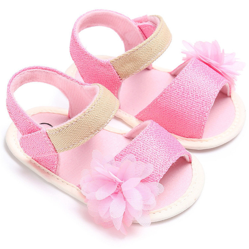Summer Baby Girl Shoes Newborn Toddler Baby Solid Canvas Flower Sandals Soft Sole Anti-slip Shoes Baby Girls Sandals JE25#F (5)