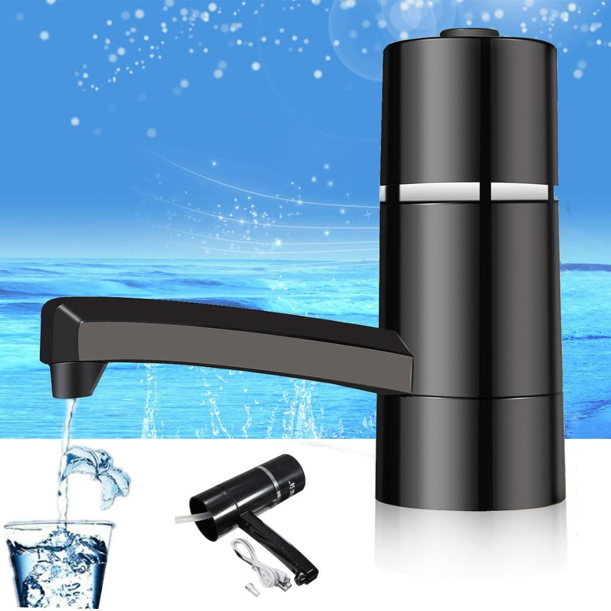 Luz LED Mini dispensador de bomba de botella de agua eléctrica inalámbrica Botellas de bebida portátiles con bomba de agua recargable USB