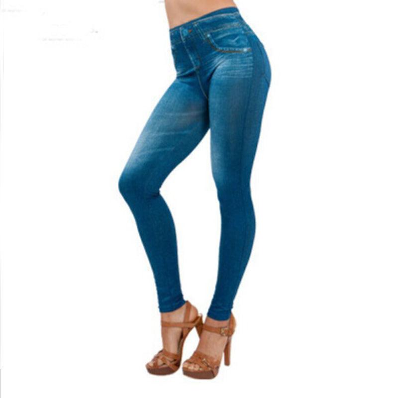 Japon Corée chaud vente femmes leggings minces bleu noir similaires Jean filles Jeggings similaires Denim Look Leggings
