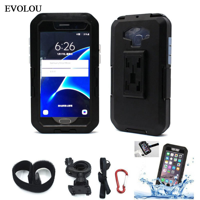 Motorcycle Bicycle Phone Holder Support Stand for Samsung S9 S8 S7 S6 Edge S5 Waterproof Case Handlebar Mount Holder Armor Bag