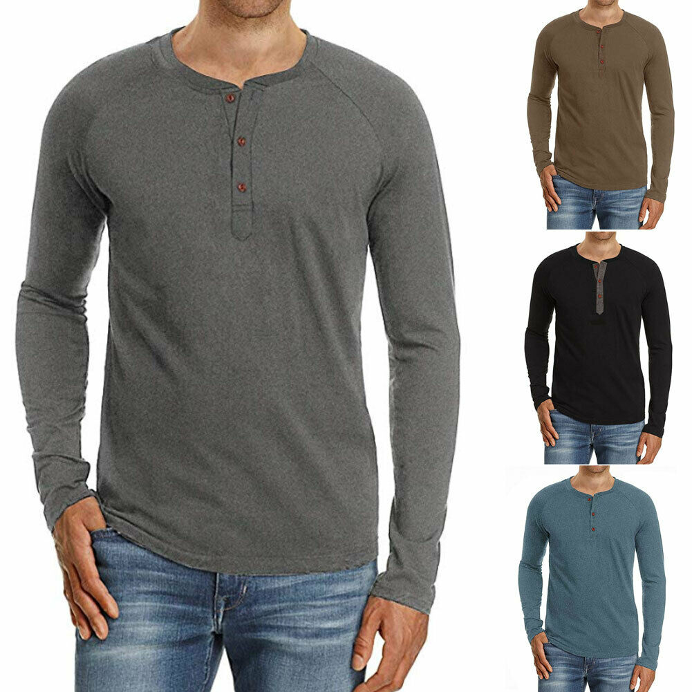Coolred Mens V Neck Solid Long Sleeve Slim Fitted Pullover Tees Top Tunic