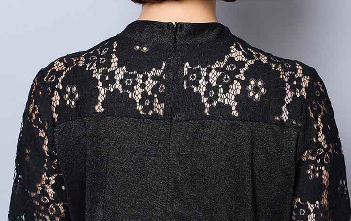 Summer Black Shiny Lace Two Piece Sets Women Plus Size Short Sleeve Tunic Tops And Pants Sets Suits Office Women's Sets L-5xl