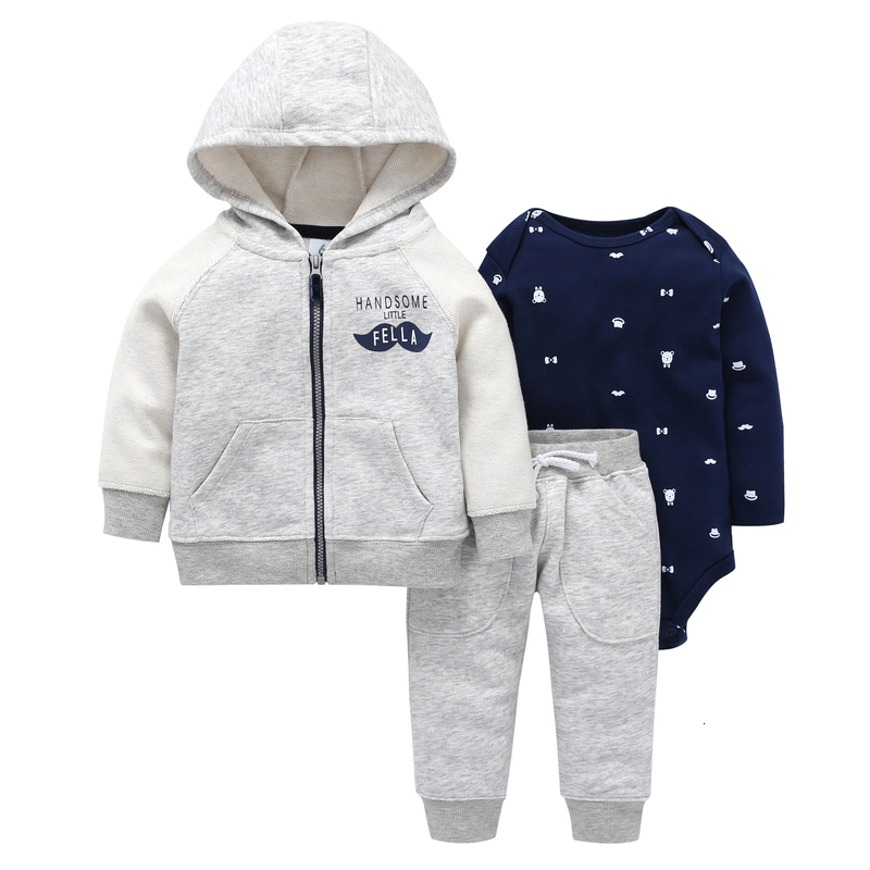 autumn winter baby outfit long sleeve coat zipper+cotton bodysuit+pant 3 piece clothing set 6-24m baby boy girl casual costume