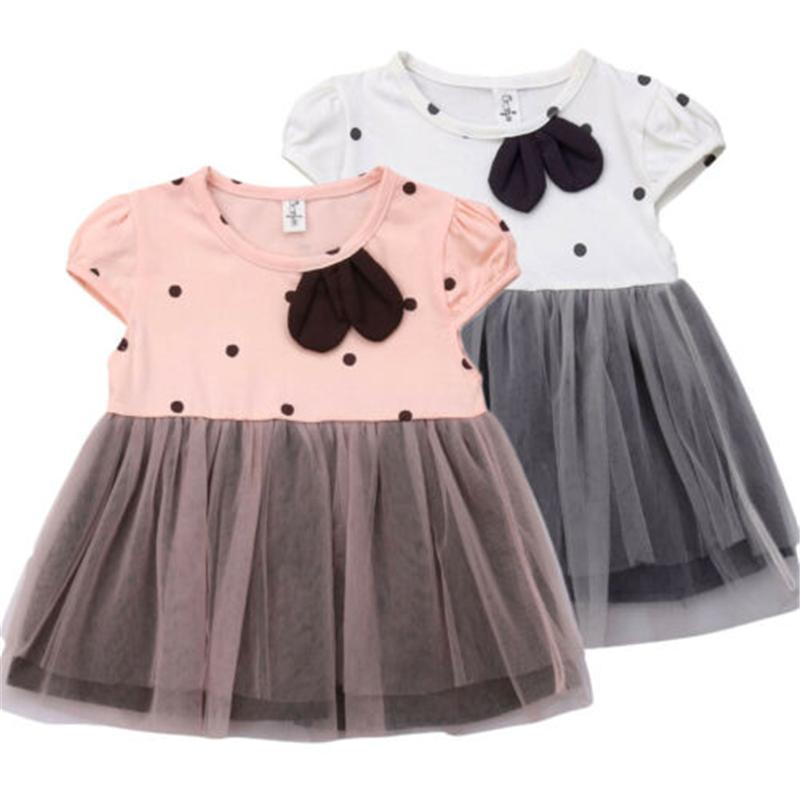 LNGRY Baby Girls Dress,Toddler Newborn Kid Girls Stylish Denim Bowknot Splice Polka Dot Print Sleeveless Tulle Dresses