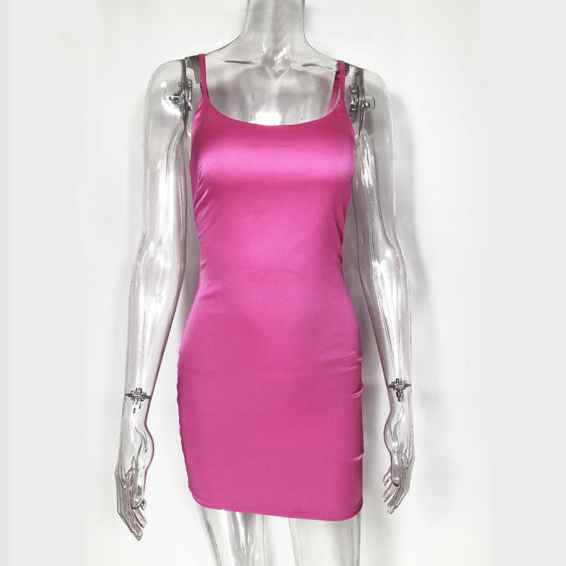 Parthea Lavender Satin Dress Women Sexy Low Cut Backless Bodycon Dress Pink Party Club Wear Mini Dress Black Vestidos Robe Femme Y19050905