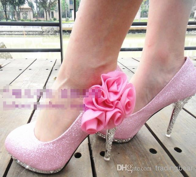 Charm2019 Sexy Shinning Glitter High Heels Shoes Pink Yellow Gold Red Silver Flower Wedding Bridal Shoes Colors To EPacket
