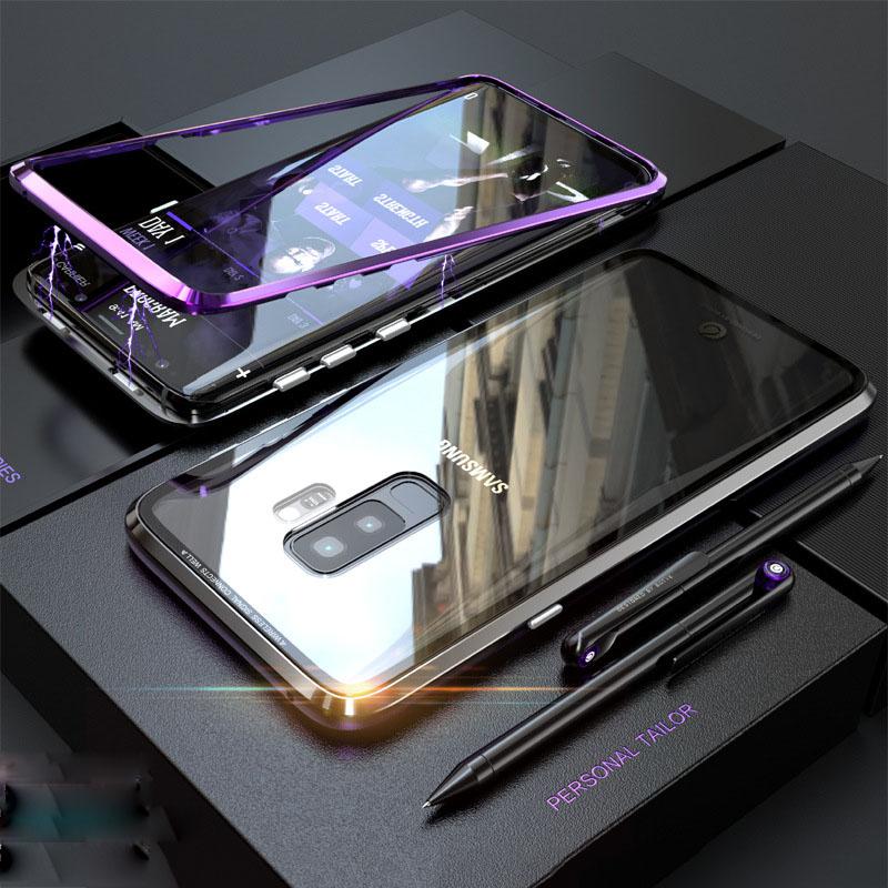 2018 Yeni Varış Moda Manyetik Telefon Kılıfı için Samsung Galaxy S9 Galaxy S9 + Temperli Cam Havacılık Alüminyum Yüksek Kalite 6 Renk Isteğe Bağlı