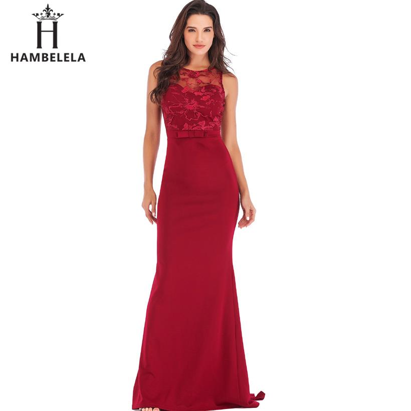 HAMBELELA Long Maxi Backless 2019 Women Dress Summer Evening Party Dresses Sexy O-Neck Elegant Floral Lace Dress Vestidos Longo (14)