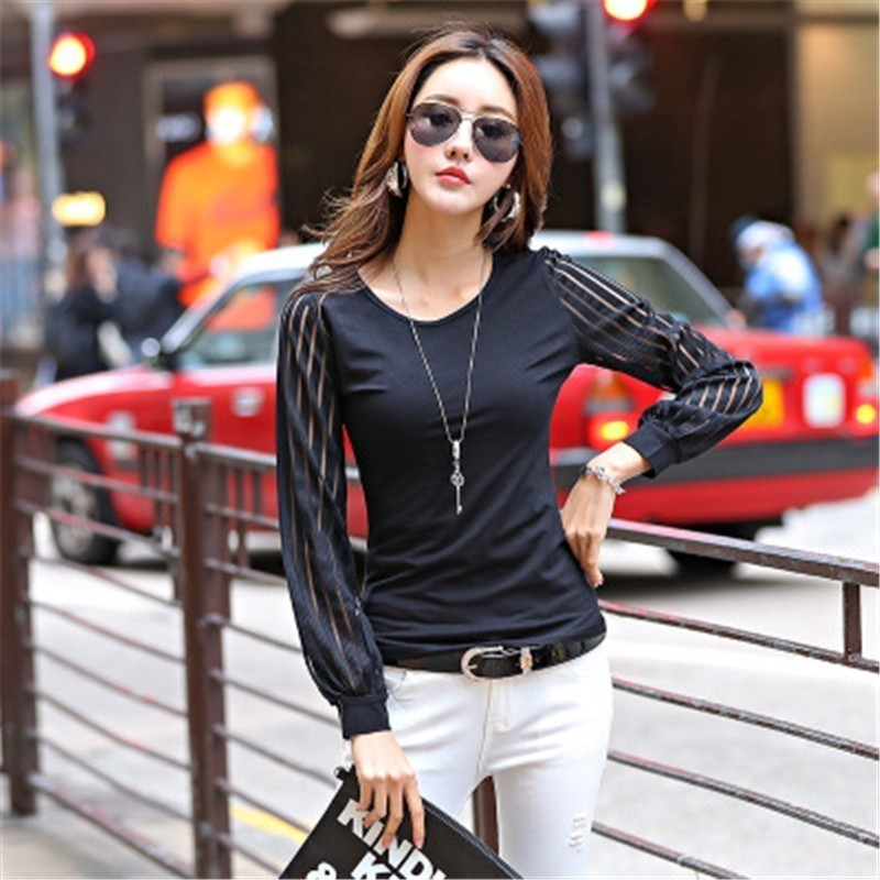 Asia Spring Autumn Popular Long Sleeve Tshirts Korean Japan O Neck Hollow Lace Sexy Fashion Pure Cotton Lady Casual Black White Tees