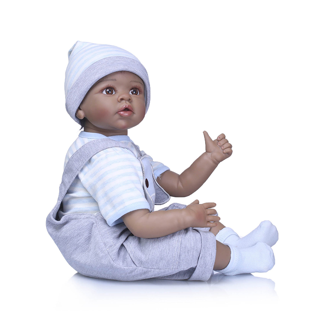 55cm 22inch Lifelike Soft Vinyl Head Limbs Newborn Baby Doll in Blue Clothes for Kids Birthday Toy Gifts Bottle Pacifier