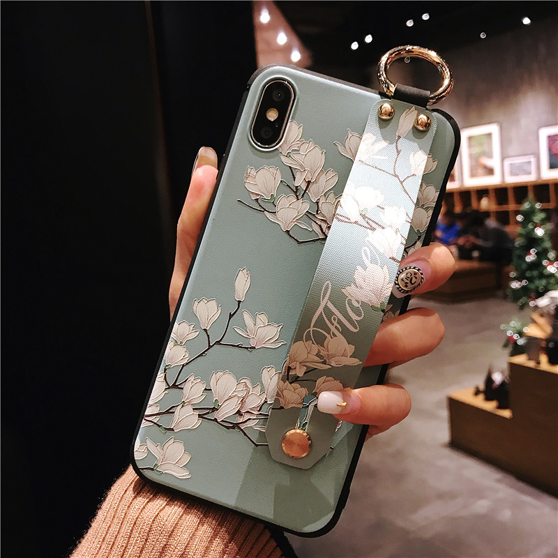4 SoCouple Wrist Strap Phone Cases For iPhone 7 Flower Case For iPhone 6 6S 7 8 Plus X XS Max XR Matte Soft Silicone Back Cover