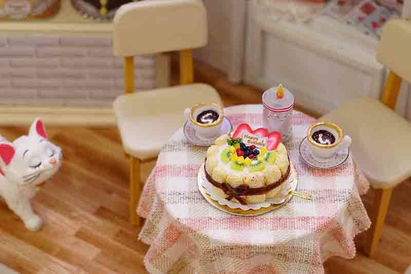 Cake Diary DIY Miniature Doll House 3D Wodden Handmade Dust Cover DollHouse Toy Miniaturas Furniture Kit Dollhouse Toys for Kids Gifts (9)