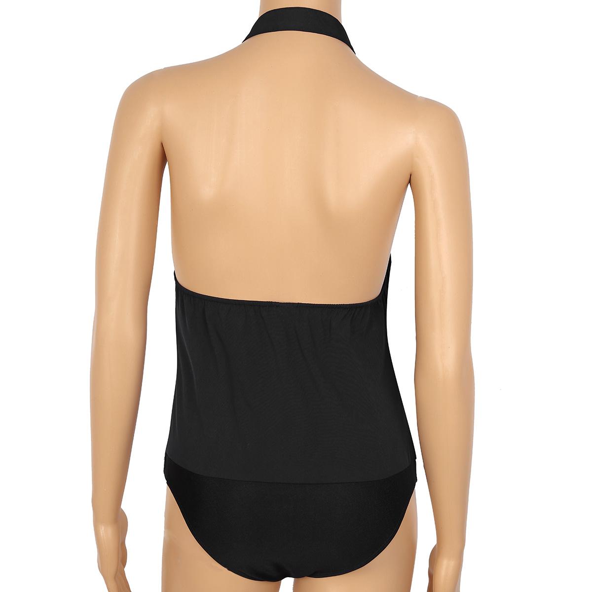 TiaoBug Women One-piece senza maniche Halter Wing Tip collare Backless Tuxedo Shirt Tuta con farfallino Ladies Party Sexy Tuta