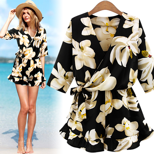 New Large Size Women's Chiffon Print V Neck Middle Sleeve Jumpsuit Fashion Trousers Skirt Loose Shorts Rompers Womens Jumpsuit Y19060501