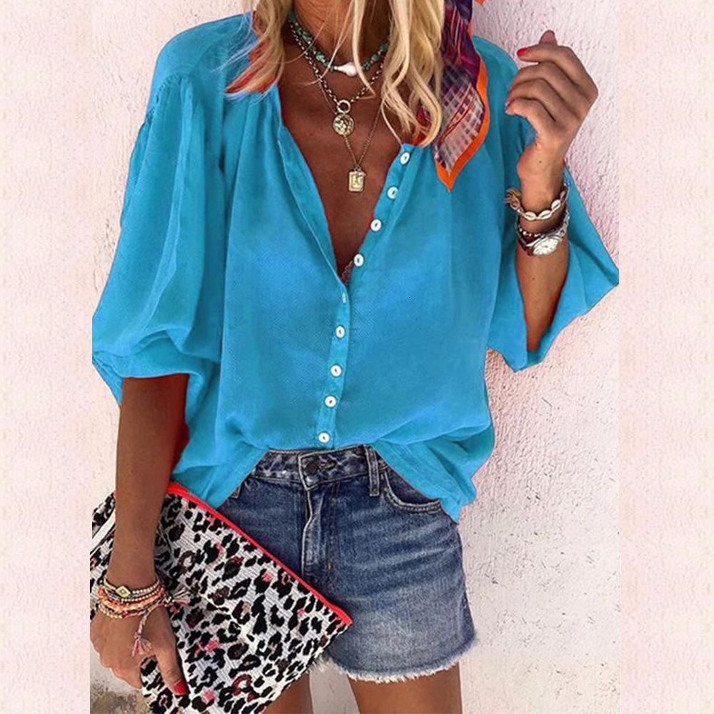 Ladies Fashion Designer Shirt 2019 Autumn Solid Color Long Sleeve V-neck Women's Shirt Casual Shirt snug