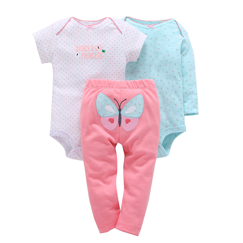 baby girl dot print romper+pants butterfly pattern 3 piece clothing set cotton 2018 spring clothes for 0-24 new born baby