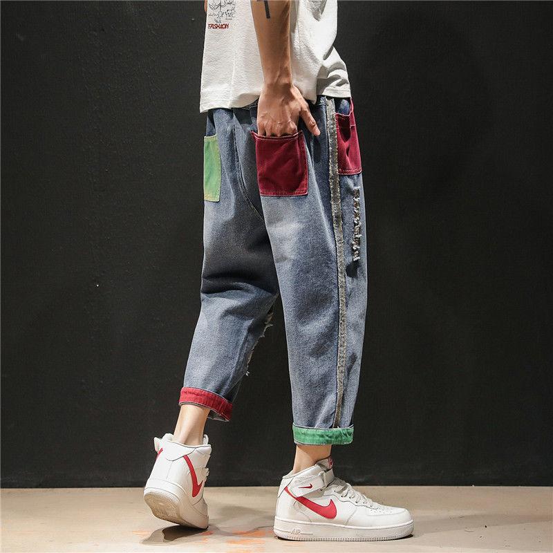 2019 ins Men Pants Casual Mens hip hop rap Male Trousers street jeans Korean Straight Full close-fitting breathing loose Pant
