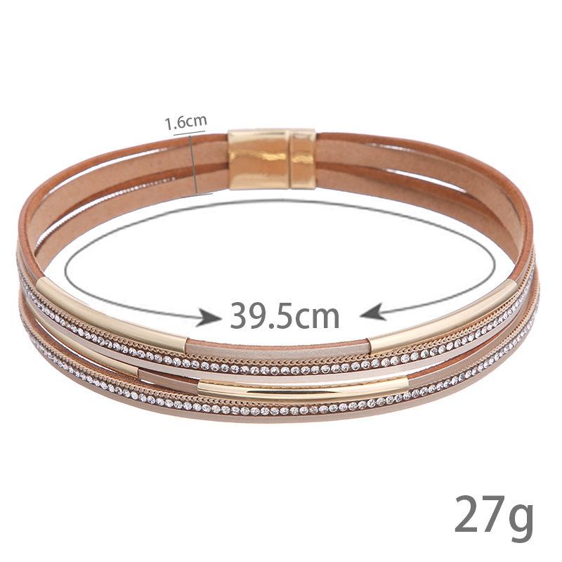 bracelet luxe bijoux de créateur bracelets de perles de cristal pendentif en cuir multicouche Bracelet glacé bracelet NE1011
