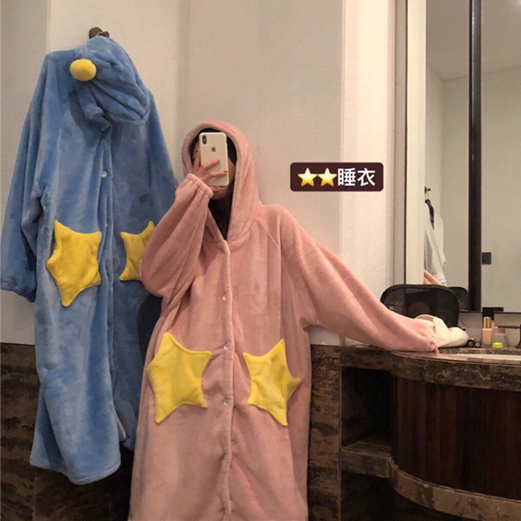 Love2019 Product Flannel Lengthen Thickening Keep Warm Stars Robe Interest Home Furnishing Serve Woman