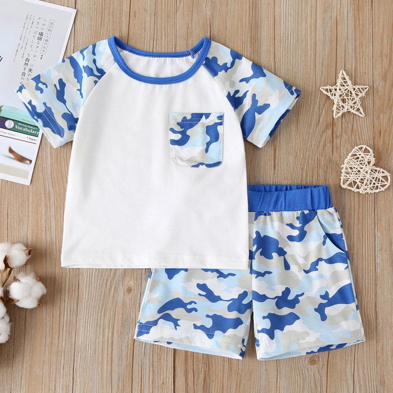 Infant Toddler Boys Casual Summer Clothing Set Crewneck Short Sleeve Tops T-Shirt+Elastic Camouflage Shorts Set