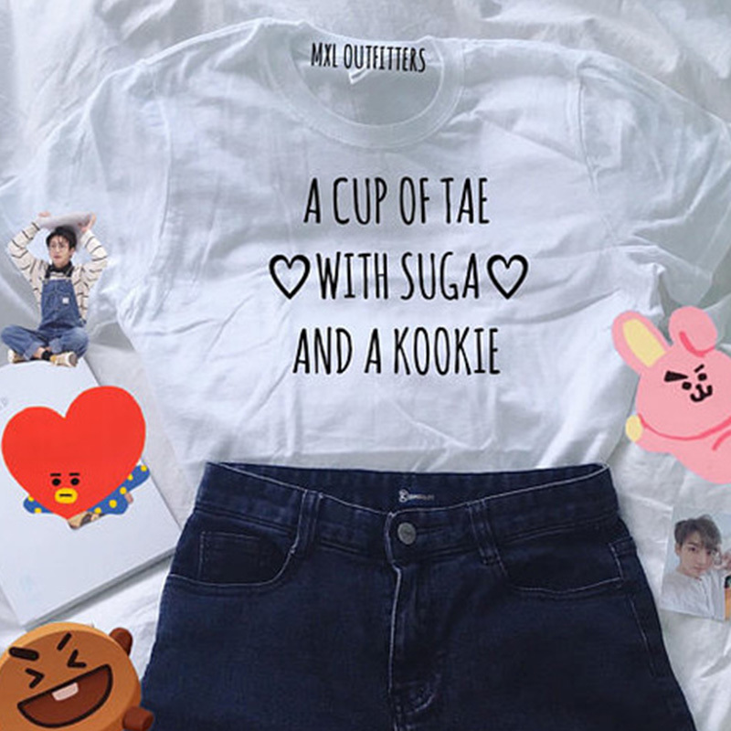 Tae Suga Kookie T-Shirt Agust D Women Casual A Cup of Tea Min Yoongi Cotton T Shirt Plus Size Graphic Top Q190522