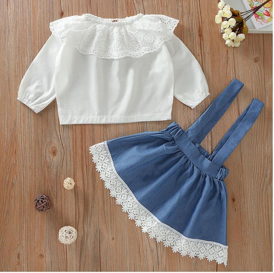 3PCS Bébé Filles T-shirtsTops Ceinture Vêtements ensembles porte-jarretelles Pantalon