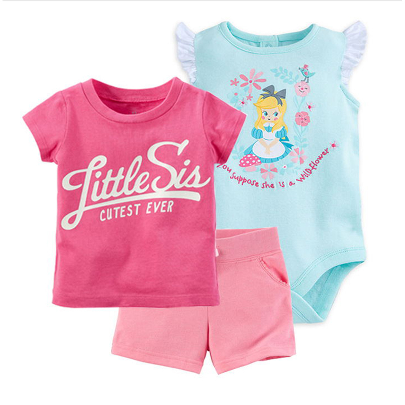 summer baby girl clothes set T shirt tops+cartoon bodysuit+shorts newborn outfit infant clothing outfits suit new born costume