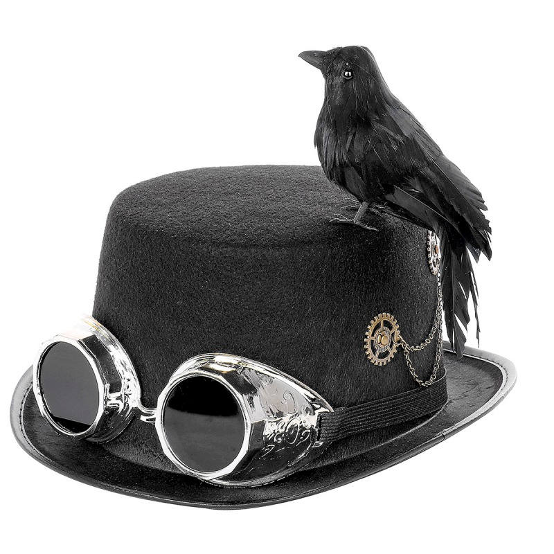 VINTAGE CYBER STEAMPUNK HAT WITH GOGGLES RETRO GOTHIC FANCY DRESS  COSPLAY HAT