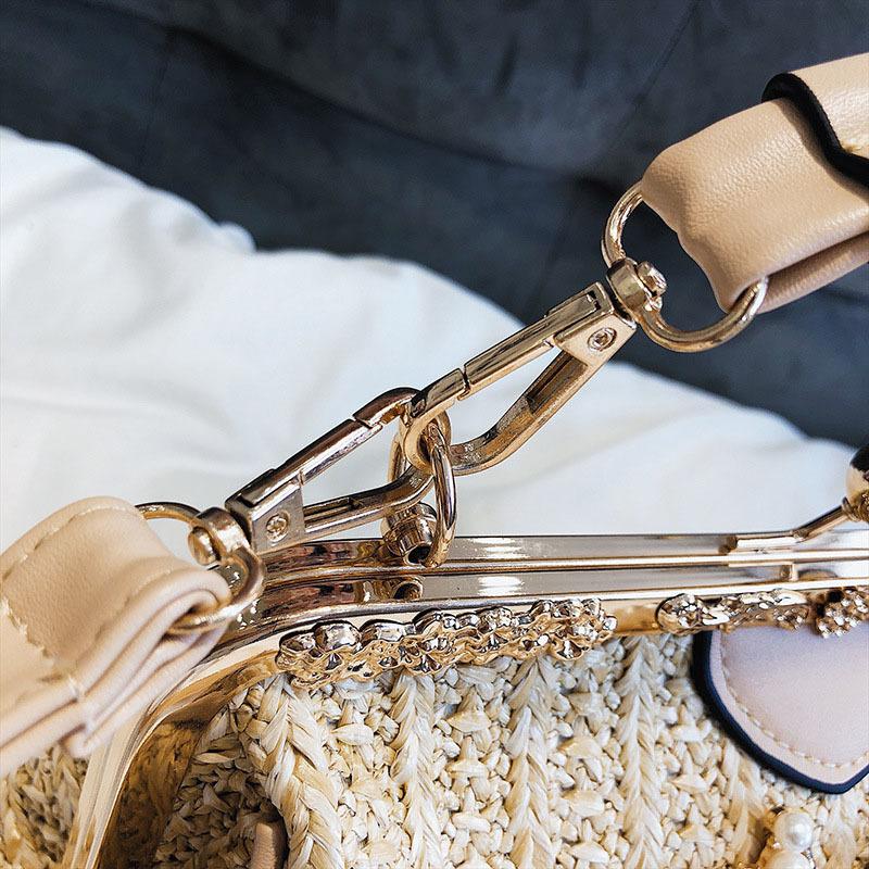 Women Pearl Handbag INS Popular Female Summer Flower Straw Bag Lady Fashion Shoulder Bag Travel Beach Woven Crossbody Bag SS7220 (3)
