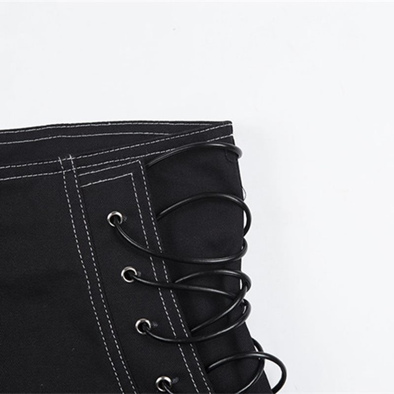 Rosetic Women Shorts Casual Gothic Sexy Club Punk Hip Hop Straight Thin High Waist Plain Zipper Black Cool Female Summer Shorts SH19062601