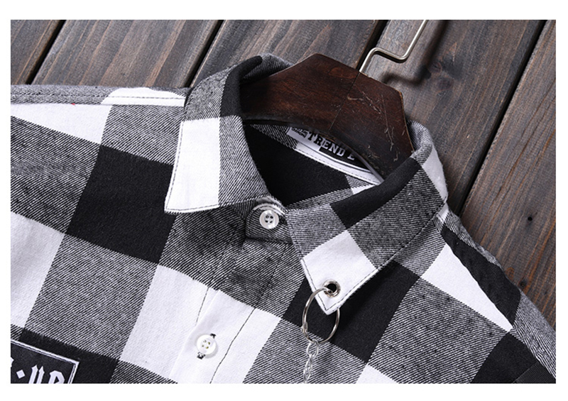 Red And Black Plaid Patchwork Shirt Men (19)