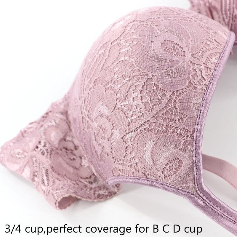 PariFairy Thin Cup Plus Size B C D Non-padded Push Up Bras Floral Lace Female Lingerie Deep V Sexy Underwear for Big Chest Women