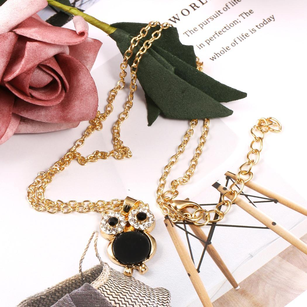 Yeni Moda Kadınlar Casual Hollow Baykuş Rhinestone Kristal Zincir Ayarlanabilir Kolye Kolye Yeni Moda Rhinestone Kolye Kolye