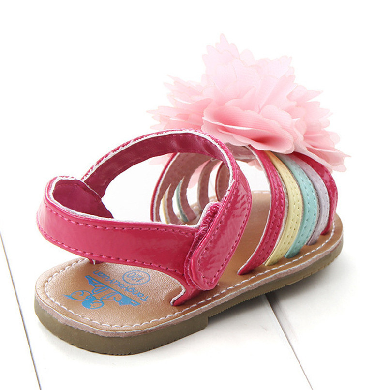 Summer Baby Girls Sandals Fashion Children Kids Baby Girls Solid Floral Soft Sole Anti-slip Princess Shoes Girl Sandals M8Y12 (15)