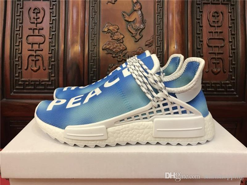 NMD Human Race Hu Trail Pharrell Williams Happy New Mens Designer Sports Running Shoes for Men Sneakers Women Casual Trainers With Box