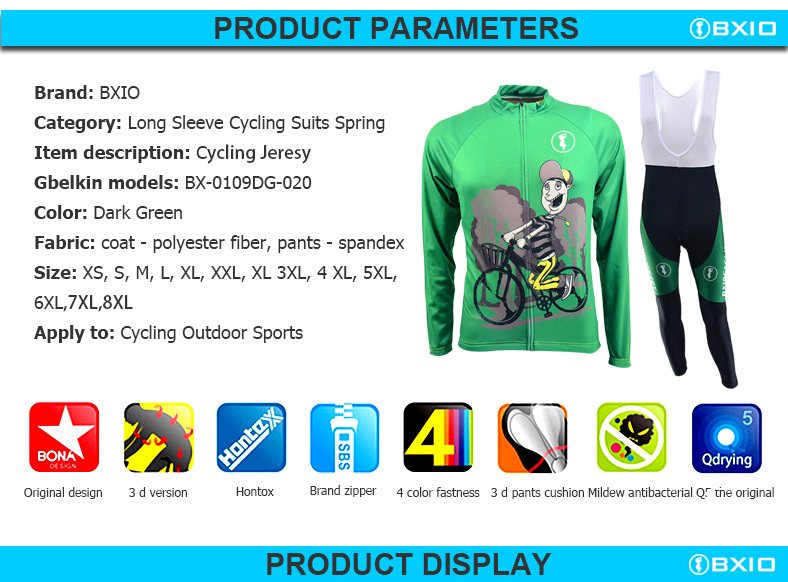 BXIO Brand Cycle Clothing Women Green Colorado Cycling Jerseys Sets Fall Long Sleeve Sports Jersey BX-0109DG020