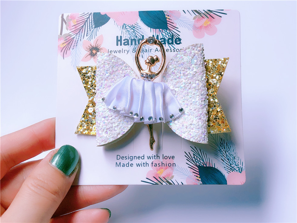Boutique ins Fashion Luxury Glitter Bow Hairpins Solid Fairy Ballet Girl Bowknot Hair Clips Princess Hair Accessories