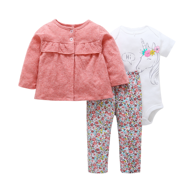 newborn baby girl clothing set cotton long sleeve coat tops+rompers unicorn+pant floral 3 piece outfits infant baby clothes set