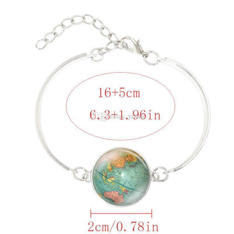 Creative Globe Map Bracelets & Bangles Planet Earth World Map Art Glass Dome Silver Jewelry Charm Bracelet For Women