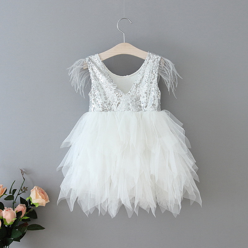 69-19-Feather Sequins Tiered Girls Dress