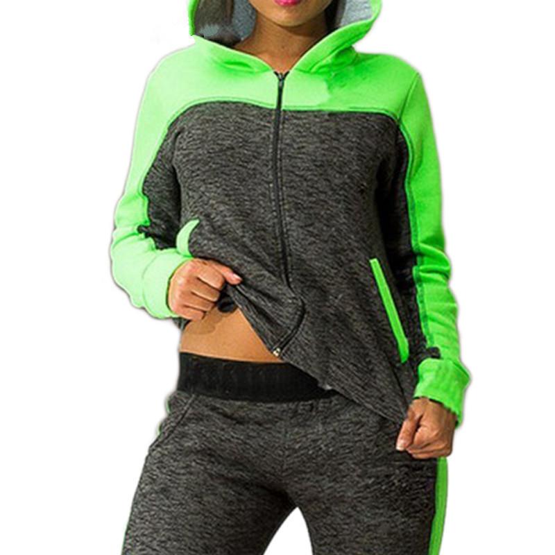 2018 Women Fitness Tracksuit Long Sleeve Coat Pants Sports Ladies Winter Workout Runninmg Set Suit Hooded Female Jogging Set Y190508