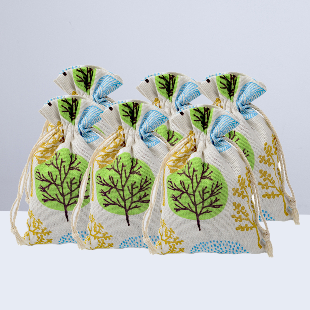 Drawstring Bag Tree Printing Cotton Linen Jewelry Bag Storage Pouch Packing Organizer Pouch for Ring Necklace Store