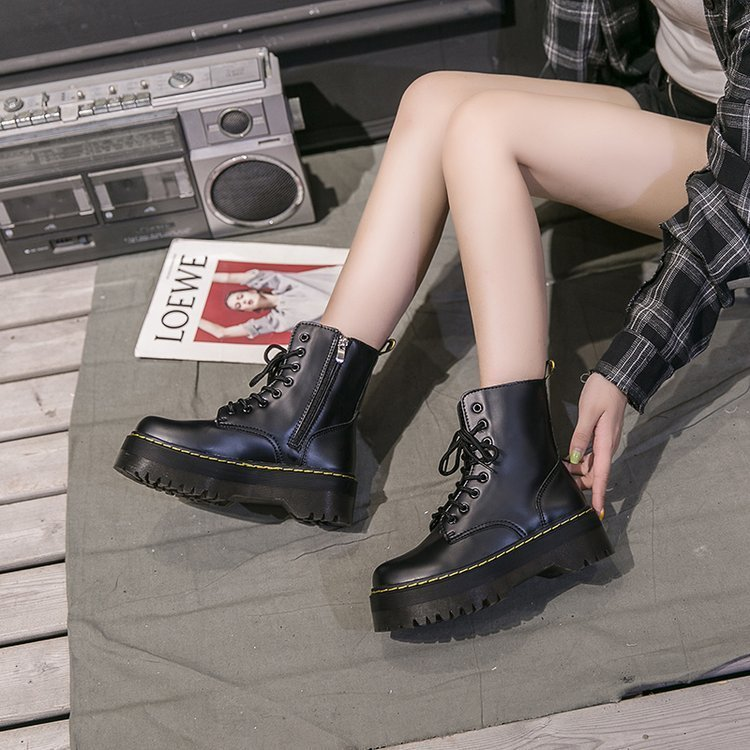 Botas Women Motorcycle Ankle Jason Martins Boots Wedges Female Lace Up Platforms Autumn Winter Soft Leather Shoes Botas Mujer