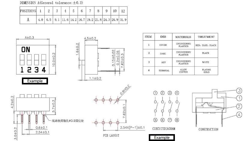 50PCS 2.54 mm rojo de 12-Bit 12 posiciones formas interruptor DIP de tipo De Diapositivas Nuevo